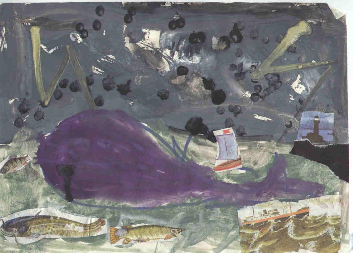 "Апрель 1996г.   ""Буря на море "".  Материалы: фломастер, гуашь, старый букварь, клей, цветная бумага.  Третий этап."